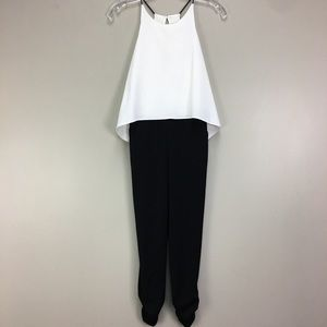 Necessary Objects NWT Blk & White Halter Jumpsuit
